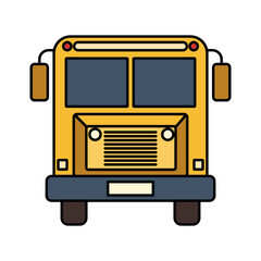 colorful silhouette image front view school bus with wheels vector illustration
