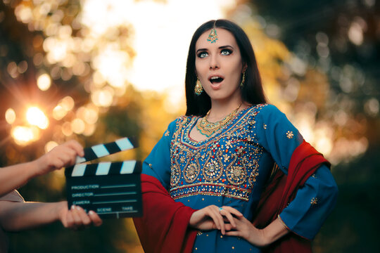 Surprised Bollywood Actress Wearing an Indian Outfit and Jewelry