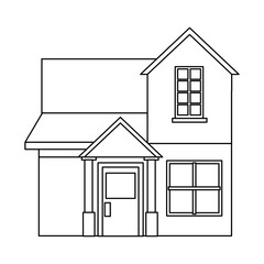 family house private residential architecture traditional vector illustration