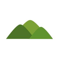 cartoon mountain natural green bush landscape vector illustration