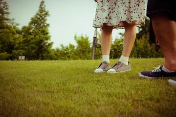 Grass, couple, legs