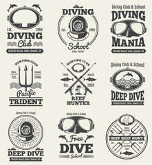 Scuba diving vintage vector labels. Spearfishing retro seal