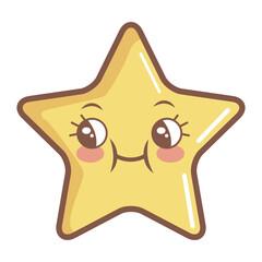 kawaii star funny cartoon character icon vector illustration