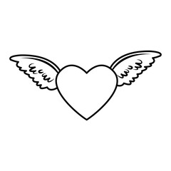 red heart with angel wings decorated feather romantic vector illustration