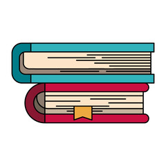 colorful silhouette image of collection of books with bookmark vector illustration