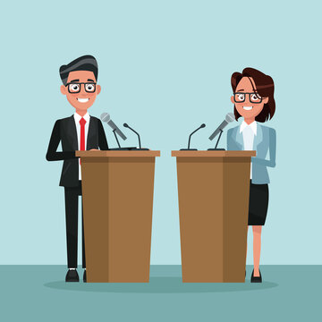 background scene presidential candidate speaks to people from tribune vector illustration