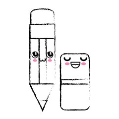 kawaii pencil and eraser icon over white background. vector illustration