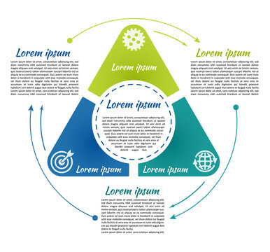 Circle infographic template 3 steps and central element in triangle. For presentation and design concept. Vector illustration.
