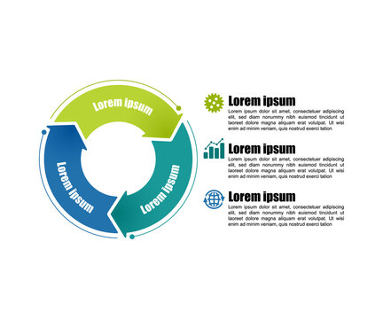 Circle infographic template 3 steps. For presentation and design concept. Bright color arrows. Vector illustration.