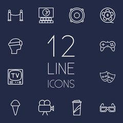 Set Of 12 Entertainment Outline Icons Set.Collection Of 3D Glasses, Tv Set, Ice Cream And Other Elements.