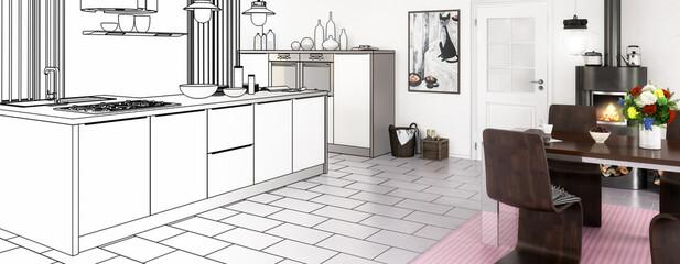 Kitchen adaptation project (panoramic)