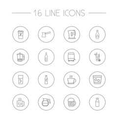 Set Of 16  Outline Icons Set.Collection Of Glass, Wine Cask, Cappuccino And Other Elements.