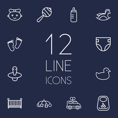Set Of 12 Child Outline Icons Set.Collection Of Rattles, Footprints, Nipple And Other Elements.
