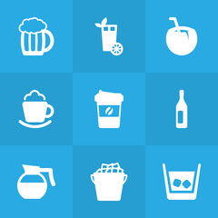 Set Of 9 Beverages Icons Set.Collection Of Cocktail, Cream, Mug And Other Elements.