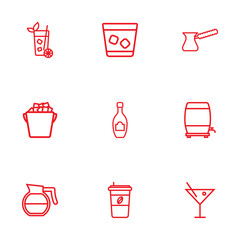 Set Of 9  Outline Icons Set.Collection Of Wine Cask, Ice Bucket, Cappuccino And Other Elements.
