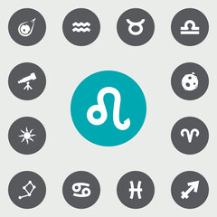 Set Of 13 Astronomy Icons Set.Collection Of Horoscope, Crab, Water Bearer And Other Elements.