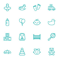 Set Of 16 Baby Outline Icons Set.Collection Of Clockwork Car, Boy, Crib And Other Elements.