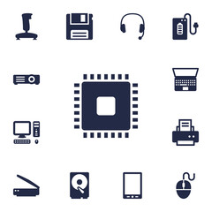 Set Of 13 Computer Icons Set.Collection Of Control Device, Peripheral, Diskette And Other Elements.