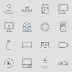 Vector Illustration Of 16 Notebook Icons. Editable Pack Of Web Camera, Laptop, Access Denied And Other Elements.