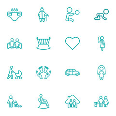 Set Of 16 People Outline Icons Set.Collection Of Skipping Rope, Crib, Diaper And Other Elements.