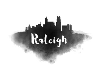 Watercolor Raleigh City Skyline