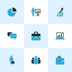 Job Colorful Icons Set. Collection Of Wallet, Businessman, Growing Chart And Other Elements. Also Includes Symbols Such As Chart, Billfold, Analytics.