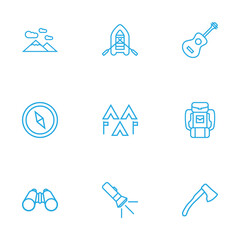 Set Of 9 Camping Outline Icons Set.Collection Of Ax, Pocket Torch, Encampment And Other Elements.