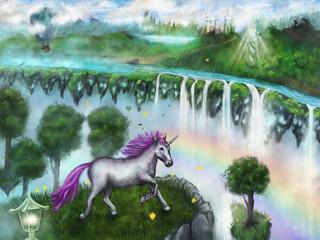 Fantastic and magical world where unicorns live