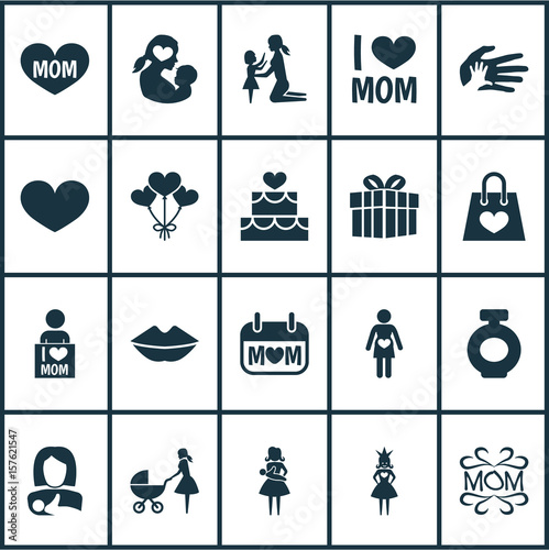 Mothers Day Icon Design Concept Set Of 20 Such Elements As Helping