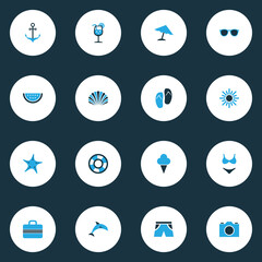 Season Colorful Icons Set. Collection Of Shell, Shorts, Camera And Other Elements. Also Includes Symbols Such As Sunshine, Melon, Shell.