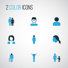 People Colorful Icons Set. Collection Of Business, Oldster, Client And Other Elements. Also Includes Symbols Such As Happiness, Oldster, Walk.