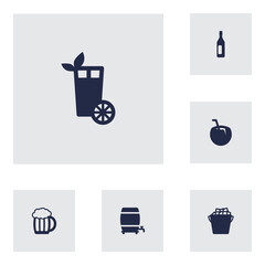 Set Of 6  Icons Set.Collection Of Lime, Wine, Mug And Other Elements.