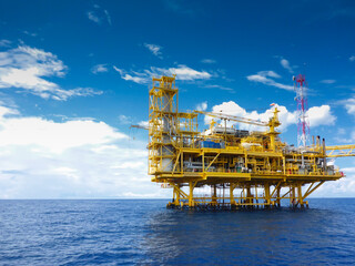 Offshore construction platform for production oil and gas, Oil and gas industry and hard work,Production platform and operation process by manual and auto function, oil and rig industry and operation. Wall mural
