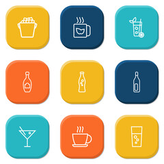 Set Of 9 Drinks Outline Icons Set.Collection Of Fizzy Water, Champagne, Soda And Other Elements.
