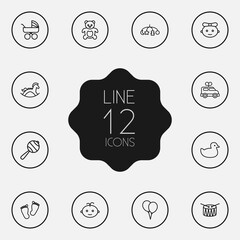 Set Of 12 Baby Outline Icons Set.Collection Of Drum, Toys, Footprints And Other Elements.