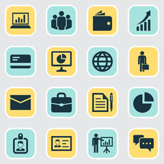 Business Icons Set. Collection Of Pie Bar, Work Man, Presenting Man And Other Elements. Also Includes Symbols Such As Payment, Page, Statistic.