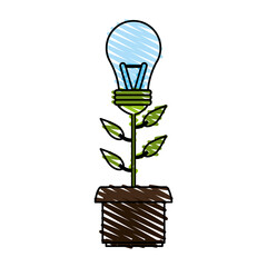 bulb power flat icon vector illustration design graphic shadow
