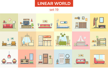 Linear flat furniture vector illustration. Room interior concept