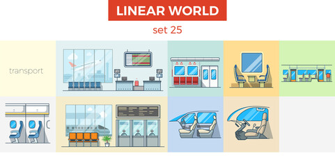 Linear flat car airport train indoor vector set. Room interior