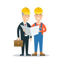 Flat Building Foreman man vector. Business Constructing concept
