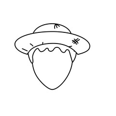 line cute man face with hat