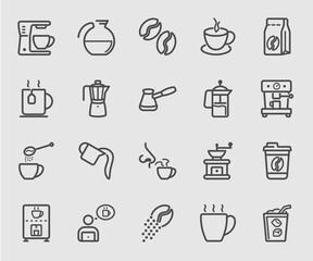 Coffee set line icon