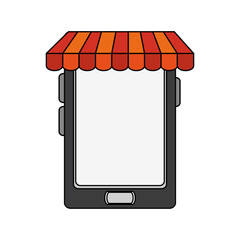 color image cartoon business on line shopping on mobile vector illustration