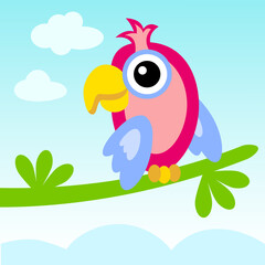 Vector illustration. Sitting on a branch parrot.