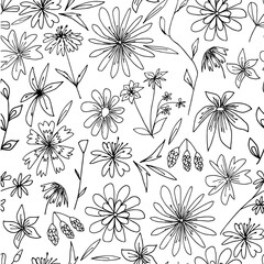 Seamless pattern with flowers. Beautiful floral ornament. Cute simple flowers on a white background.