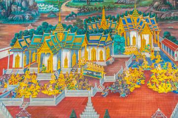 Thai Mural Paintings on the wall, Wat Phra Kaew at Bangkok, Thailand. The scenes of Ramayana story.