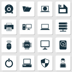 Gadget Icons Set. Collection Of Computer Mouse, Defense, Dossier And Other Elements. Also Includes Symbols Such As Broadcast, Diskette, Machine.