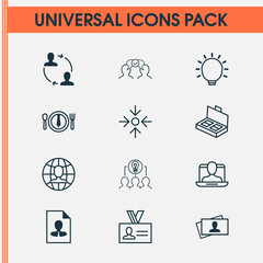 Management Icons Set. Collection Of Business Aim, Authentication, Dinner And Other Elements. Also Includes Symbols Such As Collaborative, Mark, Project.