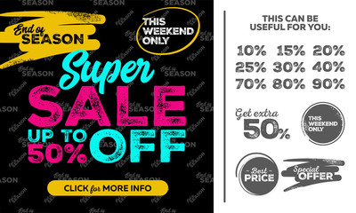 Horizontal Super Sale Banner. This Weekend Only Special Offer, Sale Up To 50% Off. Seamless End of Season Pattern. Vector Template for Shop, Market, Flyer, Banner, Advertising.