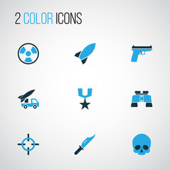 Warfare Colorful Icons Set. Collection Of Aim, Skull, Knife And Other Elements. Also Includes Symbols Such As Grenade, Hazar, Gun.